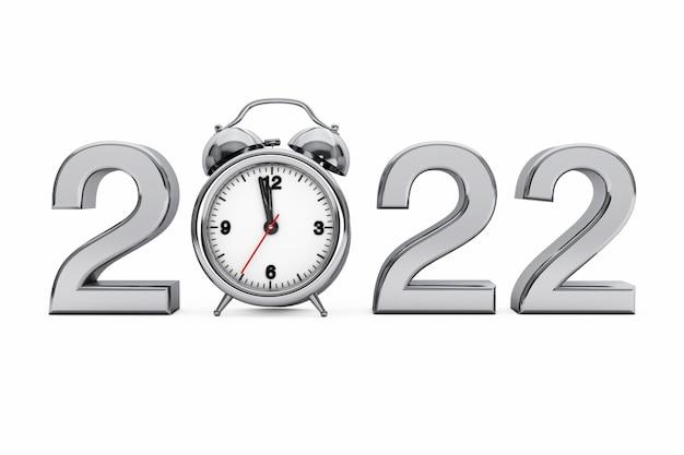 Koncepcja nowego roku 2022. 2022 stalowy znak z budzikiem na białym tle. renderowanie 3d