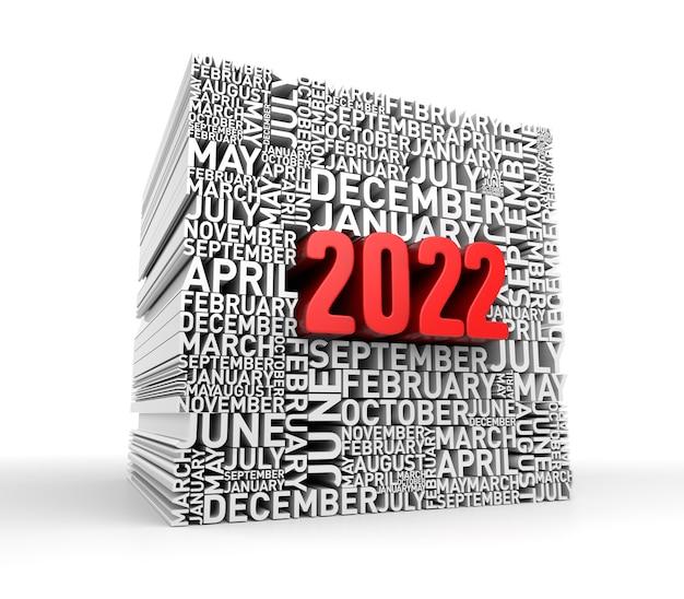 Koncepcja nowego roku 2022. renderowanie 3d
