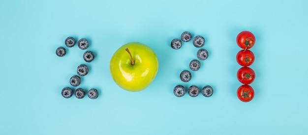 Koncepcja nowego roku z numerami owoców