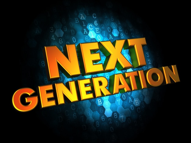 Koncepcja nowej generacji - złoty kolor tekstu na ciemnym niebieskim tle cyfrowym.