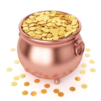 Koncepcja obchodów dnia st patricks. miedziany garnek ze złotymi monetami na białym tle.