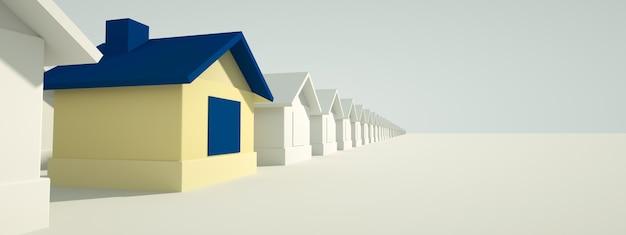 Koncepcja obudowy. niebieski dom wyróżnia się na tle innych