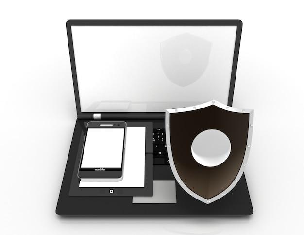 Koncepcja ochrony informacji. 3d renderowana ilustracja