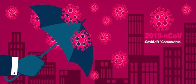 Koncepcja ochrony szczepień z parasolem. ilustracja 3d