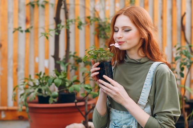 Koncepcja ogrodnictwa domowego. młoda ładna kobieta z flowerpot wącha kwiatu. wiosenna przydomowa roślina ogrodowa.