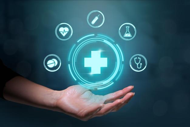 Koncepcja opieki zdrowotnej z futurystycznym designem i grafiką. ikony leczenia medycznego.