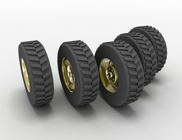 Koncepcja opon samochodów ciężarowych renderowania 3d. 3d renderowane ilustracja