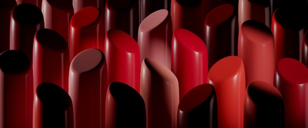 Koncepcja piękna. zbliżenie zestaw szminek w kolorach czerwonym, różowym i koralowym. 3d renderowania ilustracja.