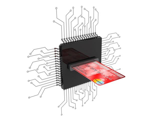 Koncepcja pieniądza cyfrowego. karta kredytowa na mikrochipach z obwodem na białym tle