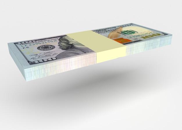 Koncepcja pieniędzy - banknoty dolarów latające na białym tle