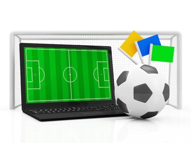 Koncepcja piłki nożnej pc laptop boisko do piłki nożnej w nowoczesnym laptopie z piłką nożną i bramą na białym tle