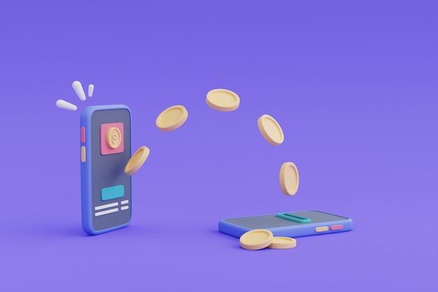 Koncepcja płatności przelewem online, smartfon i pływające coins.3d render.