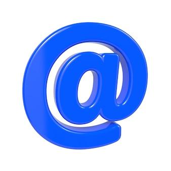 Koncepcja poczty elektronicznej. niebieski symbol @ na białym tle.