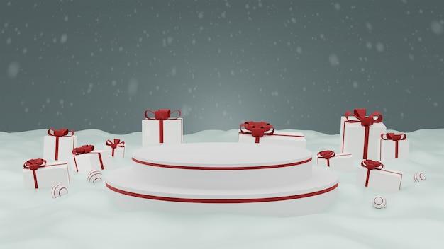 Koncepcja podium prezentacji produktu wesołych świąt z pudełkiem na śniegu.