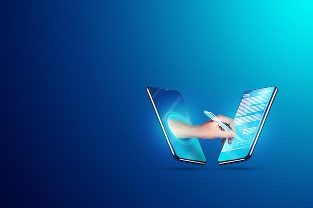 Koncepcja podpisu elektronicznego, biznes na odległość, zdjęcie telefonu i hologram umowy oraz dłoń z piórem do podpisu. zdalna współpraca, biznes online. różne środki przekazu.