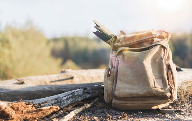 Koncepcja podróży i aktywnego stylu życia. stary brezentowy plecak na lasowym tle