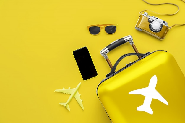 Koncepcja podróży i samolotu z bagażem