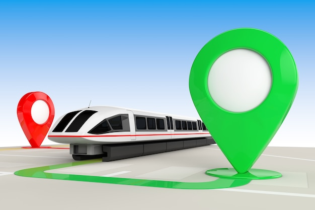 Koncepcja podróży pociągiem. super szybki futurystyczny pociąg podmiejski z góry abstrakcyjnej mapy nawigacyjnej ze wskaźnikami mapy docelowej ekstremalne zbliżenie. renderowanie 3d