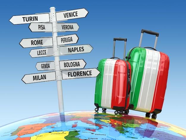 Koncepcja podróży. walizki i drogowskazy, co warto zobaczyć we włoszech. 3d