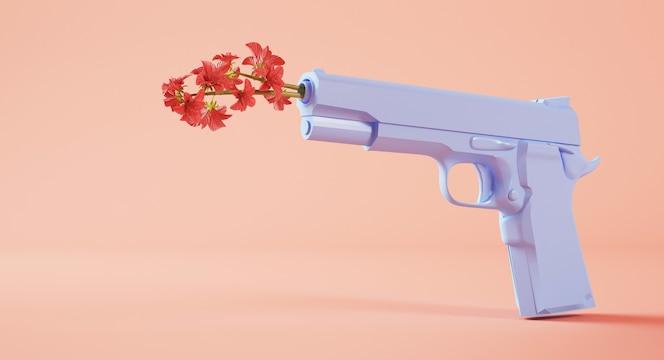 Koncepcja pokoju: kwiaty na broń renderowania 3d