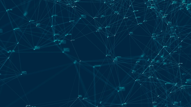 Koncepcja połączenia technologii cyfrowych dużych zbiorów danych. streszczenie przepływu danych cyfrowych na niebieskim tle. przesyłanie dużych zbiorów danych. transfer i przechowywanie zbiorów danych, blockchain, serwer, szybki internet.