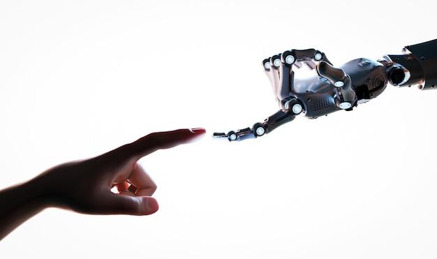 Koncepcja połączenia technologii z ręką robota renderującego 3d łączy się z ludzką ręką