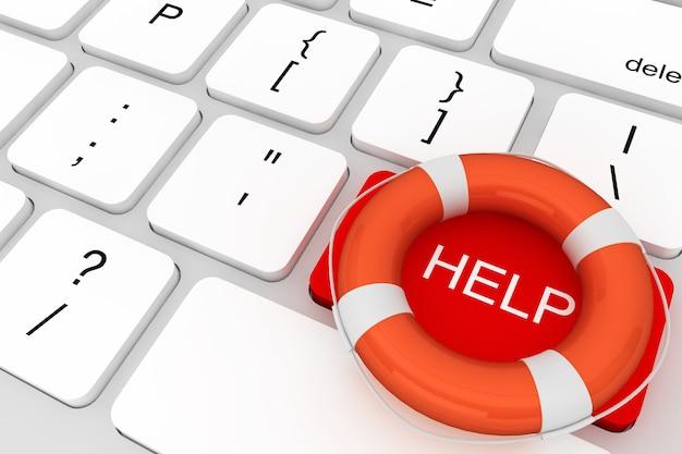 Koncepcja pomocy. klawiatura komputerowa z czerwonym przyciskiem pomocy i kołem ratunkowym