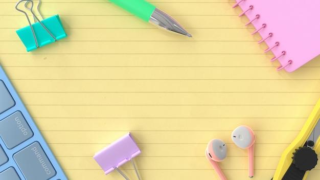 Koncepcja pomysł tło biznes. notes, klawiatura z długopisem w pastelowym kolorze na żółtym papierze. renderowanie 3d.