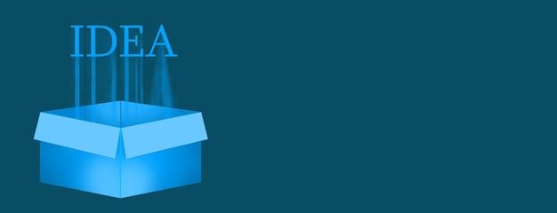 Koncepcja pomysłu biznesowego, koncepcja pomysłu kreatywnego na pudełku