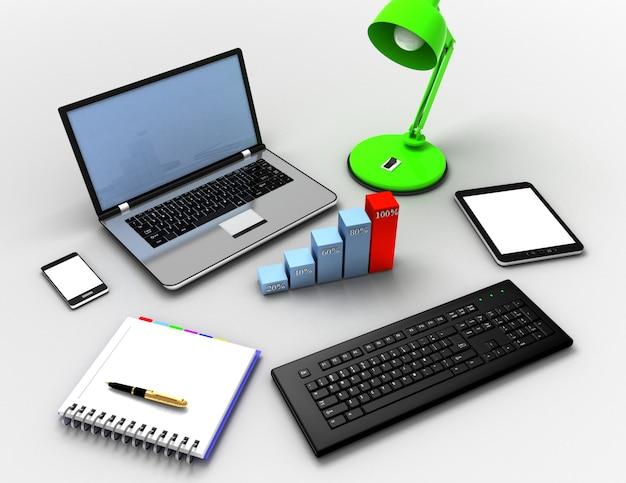 Koncepcja pracy biurowej. ilustracja 3d