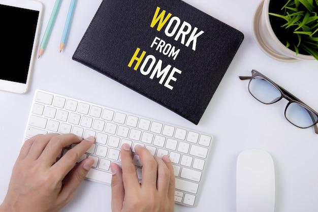Koncepcja pracy z domu, pandemia ochrony od covida-19 z kwarantanną i praca w domu.