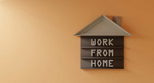 Koncepcja pracy z domu słowa tekst na drewnianym modelu, brązowy mieszkaniec przymocowany do jasnopomarańczowej okładki - renderowanie 3d