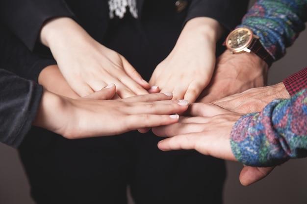 Koncepcja pracy zespołowej firmy. jedność, przyjaciele, grupa