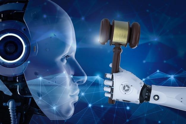 Koncepcja prawa cybernetycznego z renderowaniem 3d robota trzymającego rękę sędziego młotka