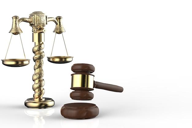 Koncepcja prawa z sędzią młotkiem renderującym 3d i skalą złotego prawa