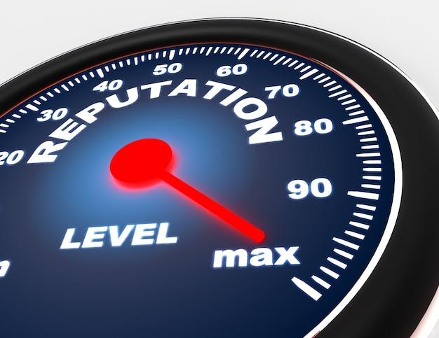 Koncepcja prędkościomierza na białym tle słowem reputacji. 3d renderowana ilustracja