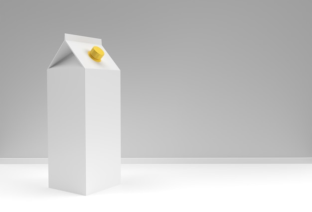 Koncepcja projektu 3d makieta pole mleka i soku, miejsce na tekst i logo. ścieżka przycinająca na białym tle.