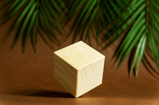 Koncepcja projektu - geometryczny prawdziwy drewniany sześcian z surrealistycznym układem na tle zielonych liści tropikalnych