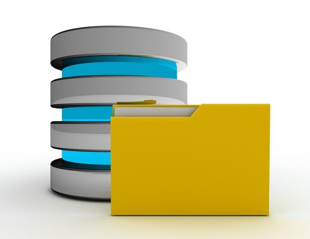 Koncepcja przechowywania bazy danych. 3d renderowana ilustracja