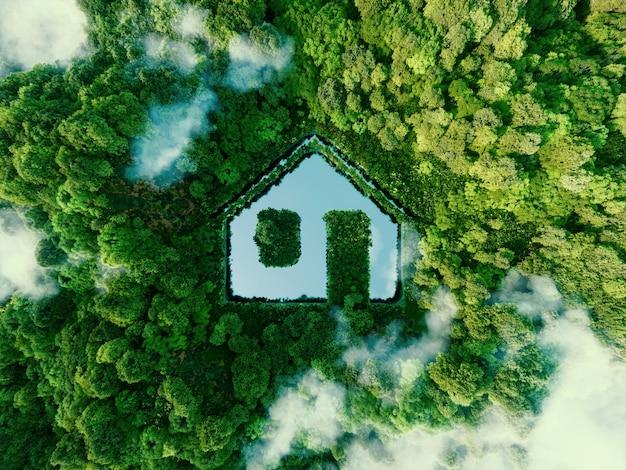 Koncepcja przedstawiająca nowe możliwości rozwoju zrównoważonych technologii budowlanych i zielonego życia w postaci oczka wodnego w kształcie domu położonego w bujnym lesie. renderowania 3d.