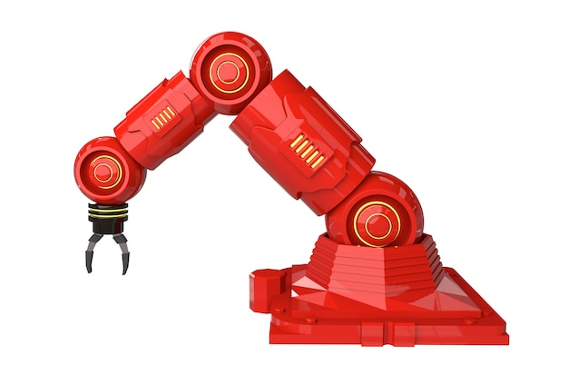 Koncepcja przemysłu automatyki z ramionami robota renderującego 3d