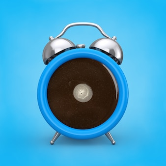 Koncepcja przerwa na kawę. filiżanka kawy jako budzik na niebieskim tle. renderowanie 3d