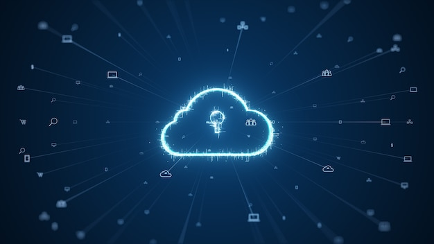 Koncepcja przetwarzania w chmurze i dużych danych. łączność 5g danych cyfrowych i futurystycznych informacji. abstrakcyjny szybki internet rzeczy iot przetwarzanie w chmurze dużych zbiorów danych.