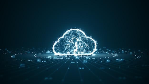 Koncepcja przetwarzania w chmurze i dużych danych. łączność sieciowa danych cyfrowych i futurystycznych informacji. abstrakcyjny szybki internet rzeczy iot przetwarzanie w chmurze dużych zbiorów danych.