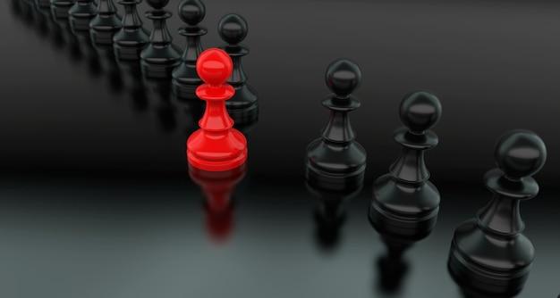 Koncepcja przywództwa, czerwony pionek szachowy, wyróżniający się z tłumu czarnych. renderowanie 3d