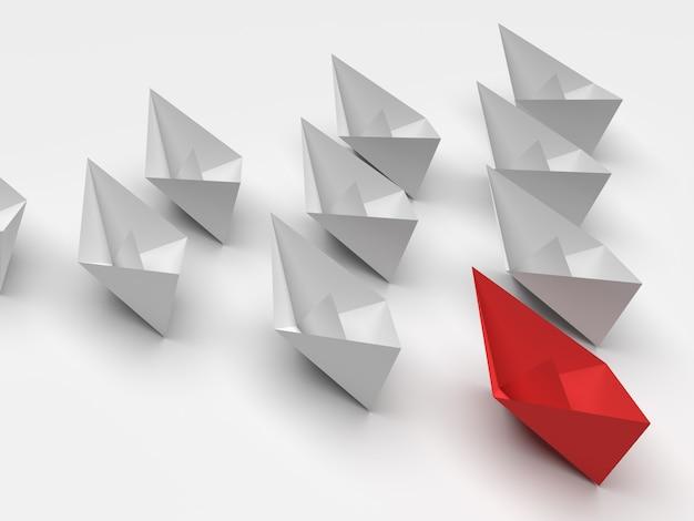 Koncepcja przywództwa. jeden czerwony statek przywódczy prowadzi do przodu inne białe statki