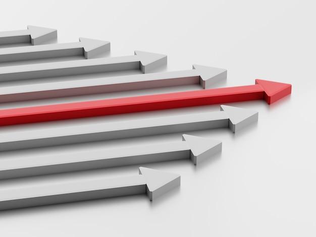 Koncepcja przywództwa. jedna czerwona strzałka lidera prowadzi zespół do przodu