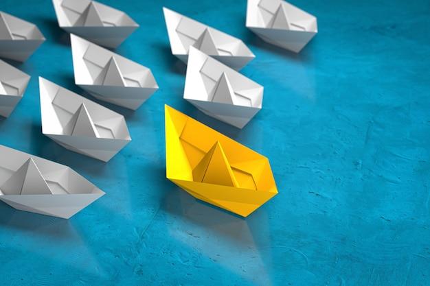 Koncepcja przywództwa, sukcesu i pracy zespołowej, żółta łódź papierowa lidera wiodące białe łodzie obserwujących. renderowanie 3d