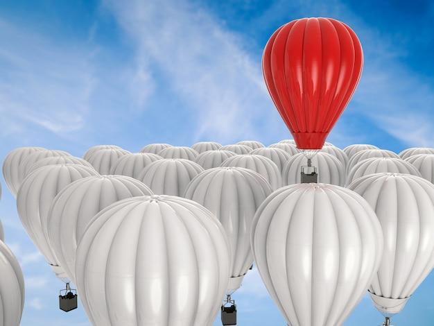 Koncepcja przywództwa z renderowaniem 3d czerwonego balonu na gorące powietrze lecącego powyżej