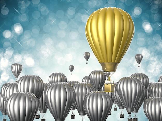 Koncepcja przywództwa z renderowaniem 3d złotego balonu na gorące powietrze lecącego powyżej